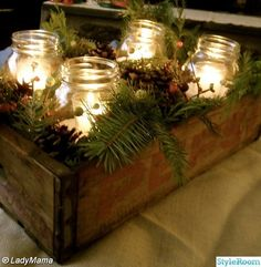 """DIY centerpiece. Ken make this box, 8"""" wide by 36""""long for Christmas/winter...dining table..."""
