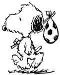 Andy is one of Snoopy's siblings. Notably, he is one of the few Peanuts characters who was created for television and later appeared in the strip. On February 14, 1994 Andy made his first appearance in the comic strip, visiting Snoopy in the hospital. In that appearance he is accompanied by Spike and Olaf. Andy would be accompanied by his brother, Olaf in all subsequent appearances. Andy and Olaf live together on a farm. Andy looks similar to Snoopy but has longer, shaggier hair.