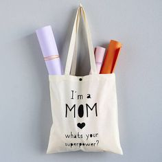 Jutebeutel Supermama, Accessoires, Geschenk zum Muttertag / tote bag as present for mother's day, accessories made by purplehamburg via DaWanda.com