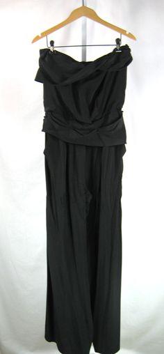 CYNTHIA STEFFE Black Silk Strapless Pant Romper Jumpsuit Size 8 #CynthiaSteffe #Jumpsuit