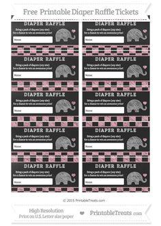 Free Pastel Light Pink Checker Pattern  Chalk Style Baby Elephant Diaper Raffle Tickets