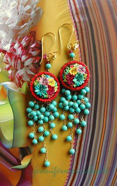 Mexicana inspired earrings,,hand embroirded and hand beaded. I want them now and forever!!!