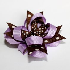 Brown Lavender Purple Polka Dots Stacked Boutique Hair Bow