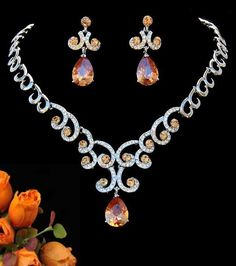 China Orange Diamond Jewelry Set, Find details about China Wedding Jewelry Set, Jewelry Set from Orange Diamond Jewelry Set - Yiwu Juhan Co. Gemstone Jewelry, Diamond Jewelry, Jewelry Accessories, Jewelry Design, Wedding Jewelry Sets, Bridesmaid Jewelry, Luxury Jewelry, Jewelry Stores, Jewelry Collection