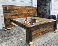 Rustic Bed Set (Headboard, Footboard, Bed Frame, 2 Cabinets and 2 USB Outlets)