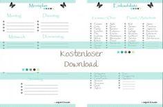 Free Printable - Menüplan und Einkaufsliste