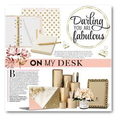 """""""On My Desk"""" by lalalaballa22 ❤ liked on Polyvore featuring interior, interiors, interior design, home, home decor, interior decorating, Kate Spade, Parker, ferm LIVING and Jennifer Lopez"""