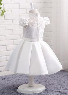 Buy discount In Stock Modest Lace & Satin High Collar Neckline Ball Gown Flower Girl Dresses With Bowknot at Magbridal.com