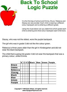 Print  Squigly's Back To School Logic Puzzle for kids. Use it at home or in the classroom!
