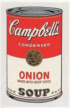 """Andy Warhol - Campbell's Soup Can (onion).  One of an installation of 32 paintings. """"Campbell's Soup Cans"""", first shown Jul. 9th 1962 at Ferus Gallery, Los Angeles."""