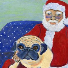 This 5 x 5 art card, with a matching envelope, shows Santa and a pug sitting on a polkadotted couch. This card is great to send to Santa-believing