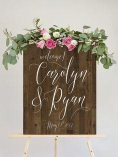 Wood Wedding Sign for Wedding Reception  by MissDesignBerryInc