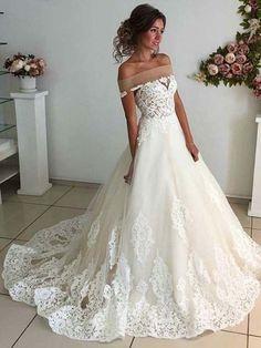 A-line Off-the-shoulder Floor-length Short Tulle Wedding Dress,P589