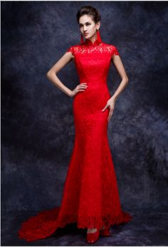 Style CLF141 – short sleeve red lace formal dresses