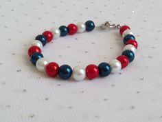 Red White and Blue Bracelet Bridesmaid by CherishedJewelryCo, $12.00 #fourthofjuly #4thofjewelry