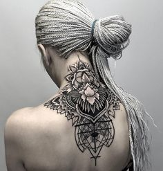 Geometric & Floral Neck  http://tattooideas247.com/black-ink-neck/ tatuaje en la espalda y cuello