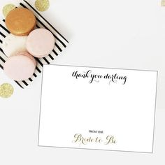 Bridal Shower Gold Glitter Thank You Darling Thank You Card - DIY Printable -   - Pink Poppy Party Shoppe