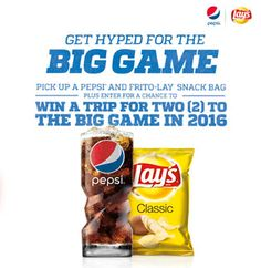 "Sweepstakes & Giveaways     Swagbucks     Survey Sites     Irazoo     GiftHulk     Zoombucks     Coupons »     Disclaimer  PEPSI'S ""HYPED FOR THE BIG GAME"" INSTANT WIN GAME & SWEEPSTAKES January 3, 2015 by bellahogue13 Leave a Comment     1  Enter to win a $100 NFL Shop gift card instantly plus be entered to win a trip for 2  to the Super Bowl!  Good luck!"