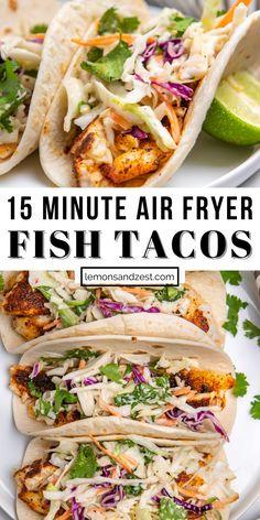 Fish Taco Recipes, Air Fryer Fish Recipes, Cilantro Recipes, Cilantro Lime Slaw, Tilapia Recipes, Seafood Recipes, Mexican Food Recipes, Vegetarian Recipes, Dinner Recipes