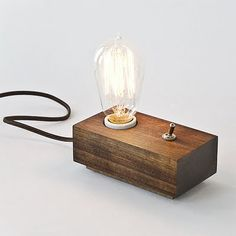 Wood Lamp w/ Edison Bulb by Andrew Berg Loading. Monday Wood Lamp w/ Edison Bulb by Andrew Berg Wood Lamp Base, Wood Lamps, Lampe Edison, Edison Bulbs, Luminaria Diy, Edison Lighting, Industrial Lighting, I Love Lamp, Deco Design