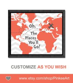 dr seuss quote print girl nursery decor oh the places you will go map oh the place you'll go kids wall decor childrens room art playroom art
