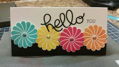 Inspired by a card found on iminhaven.com Stampin Up Hello You Thinlits and Crazy About You stamp set.