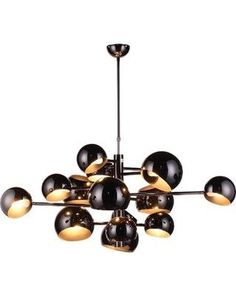 """Make an impact with this high gloss steel chandelier featuring 14 rotating shades. - Dimensions: 51.5""""Dia x 19""""H - Materials: Steel - Finish: High Gloss White; High Gloss Black - Includes canopy as sh"""