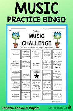 Music Sub Plans Middle School Inspirational Music Practice Records & Band Practice Logs Bundle Music Bingo, Fun Music, Piano Practice Chart, Music Theory Games, Music Challenge, Piano Teaching, Learning Piano, Music Lesson Plans, Music Worksheets