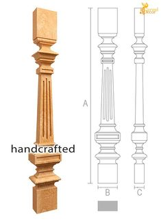 Unique wood spindles designs - Stair parts pc. Balustrade Design, Stair Railing Design, Oak Stairs, Wood Staircase, Drawing Room Ceiling Design, Home Theater Room Design, Wood Balusters, Pillar Design, Pooja Room Design