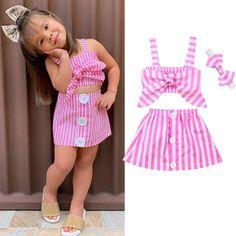 New Summer Newborn Baby Girl Cute Pink Clothes Cotton Sleeveless Stripe Tops+Tutu Skirt Summer Outfits Baby Dress Design, Baby Girl Dress Patterns, Dresses Kids Girl, Little Girl Outfits, Kids Outfits Girls, Pink Outfits, Baby Outfits, Summer Outfits, Dress Girl