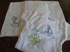 Nautical themed onesie and burp cloth (hand embroidered)