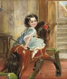Flora Emma Sarah Ward On A Rocking Horse . Henrietta Ward (1832 – 1924, English)