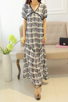 Loose-Fitting V-Neck Short Sleeves Maxi Dress For Women