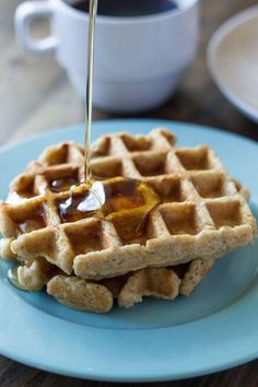 Whole Wheat Zucchini Oat Waffles for Two | Veggie and the Beast #food