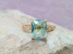 Aquamarin - Aquamarine-Ring, Diamantring, Krappenfassung Ring  - ein Designerstück von CandyMasha bei DaWanda