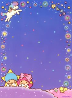 Kawaii memo paper - Little Twins Star -Sanrio Sanrio Wallpaper, Star Wallpaper, Kawaii Wallpaper, Wallpaper Backgrounds, Iphone Wallpaper, Little Twin Stars, Little Star, Sanrio Characters, Cute Characters