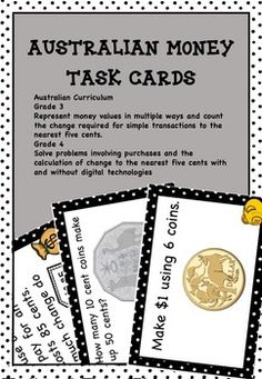 Australian Money Task Cards Higher Order Thinking Grades 3 and 4 - Best selling resource that contains 56 money task cards Students add coins and notes and calculate change. Teachers can just print and go as all of the hard work is done by the cards! Great for maths centres, maths rotations, partner work and as extension activities. Find out more here: https://www.teacherspayteachers.com/Product/Australian-Money-Task-Cards-Higher-Order-Thinking-HOTS-Grades-3-and-4-2537123