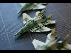Origami video tutorial - How to fold an Hornet fighter jet plane out of a dollar bill Folding Money, Origami Folding, Paper Folding, Origami Paper, Origami Boxes, Dollar Bill Origami, Money Origami, Dollar Bills, Origami Airplane