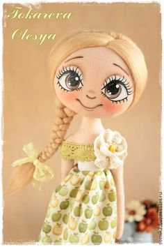 кукла Doll Crafts, Diy Doll, Doll Face Paint, Fabric Toys, Doll Eyes, Sewing Dolls, Pretty Dolls, Soft Dolls, Handmade Toys