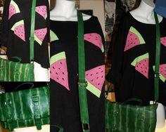 Sweter i torba pomalowane w arbuzy.