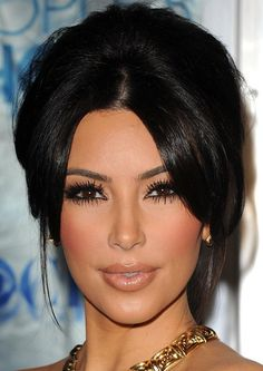 My hair will be up (probably a low messy bun)...love her make-up, but would prefer - red lip.