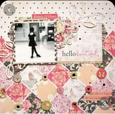 I have one last project to share using some new Photoplay Paper! This time, I have used the Belle Vie collection. It is such a pretty, floral based collection and super girly. Would be really great fo Scrapbook Patterns, Scrapbook Layout Sketches, Kids Scrapbook, Scrapbook Templates, Wedding Scrapbook, Scrapbooking Layouts, Scrapbook Cards, Creative Memories, Hello Beautiful