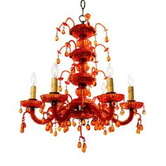 Droplet red chandelier from Canopy Designs