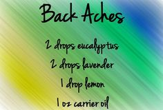 Back Aches. Mix oils together with carrier oil in a roller ball and to muscles where they ache. Also can be used as a massage blend. These oils can be purchased at www.mydoterra.com/kellyjanice