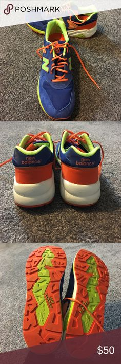 Men's New Balance Men's New Balance REVLITE Worn only a few times.. color combo is blue suede, orange and bright green. Size 10.5 New Balance Shoes Sneakers