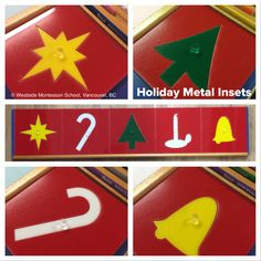 Holiday Metal Insets! These are from Hello Wood and fit perfectly in the metal inset stand to add some holiday spirit to the Language pre-writing area.