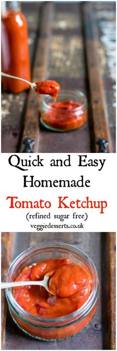 Make this tasty tomato ketchup recipe in only 15 minutes with store cupboard ingredients (and no refined sugar! It's quick, easy and well worth the (minimal) effort it takes to make it fresh. Homemade Tomato Ketchup, Tomato Ketchup Recipe, Homemade Ketchup Recipes, Homemade Sauce, Sauce Recipes, Blender Recipes, Kitchen Recipes, Tomatoes, Home Canning
