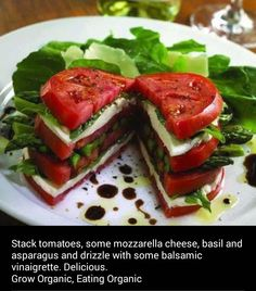 caprese sandwich - looks delish and healthy. Healthy Snacks, Healthy Eating, Healthy Recipes, Veggie Recipes, Veggie Dishes, Esparagus Recipes, Recipies, Recipe Tips, Drink Recipes