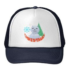 Christmas Tree And Snowman Trucker Hat
