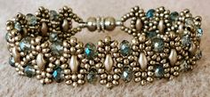 Linda's Crafty Inspirations: Bracelet of the Day: Duo Bobble Band - Pewter & Blue